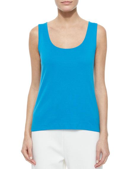 Joan Vass Cotton Rib Tank, Bright Blue, Petite