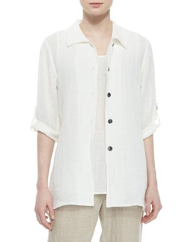 3/4-Sleeve Crinkled Linen Shirt, Petite
