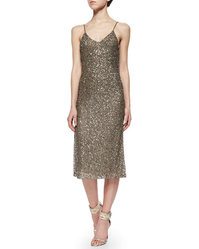 Yelena Sequined Mesh Dress