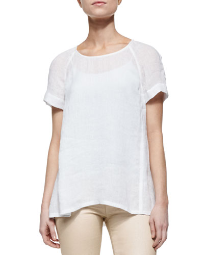 Katy Linen Short-Sleeve Blouse