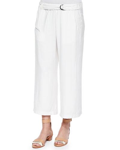 Candice Tab-Waist Straight-Leg Pants