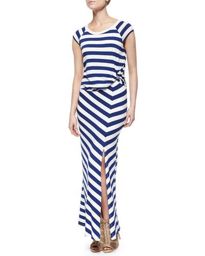 Barbara Striped Maxi Dress, Azul