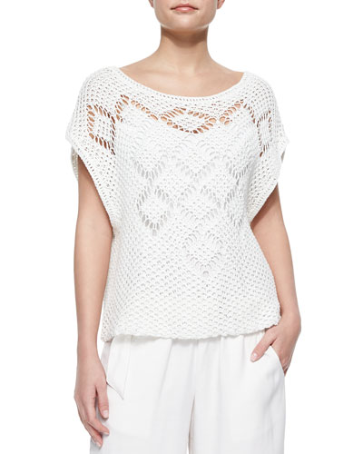 Ella Moss Whitney Open-Knit Sweater, White