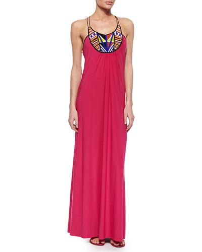 Bead-Embellished Maxi Dress, Fuchsia