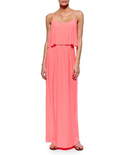 Flowy-Bodice Maxi Dress, Neon Pink