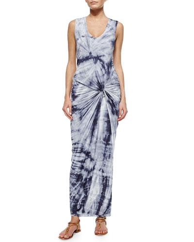 Sleeveless Knotted Maxi Dress, Gray Dreamer