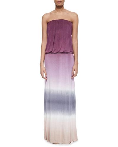 Sydney Ombre Jersey Maxi Dress, Wine/Pink