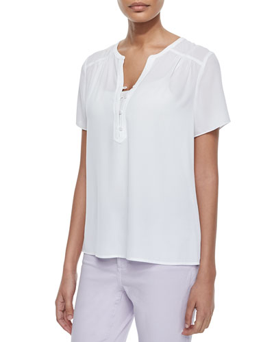Pop-Over Short-Sleeve Blouse, White