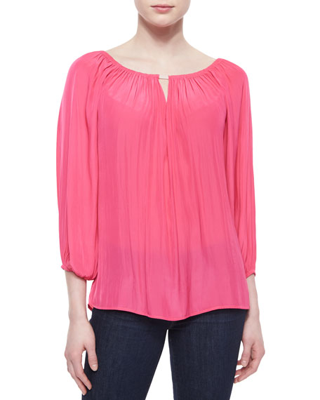 Ramy Brook Bateau-Neck Chiffon Blouse, Watermelon
