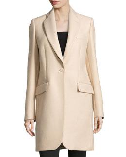 One-Button Long Coat, Cream