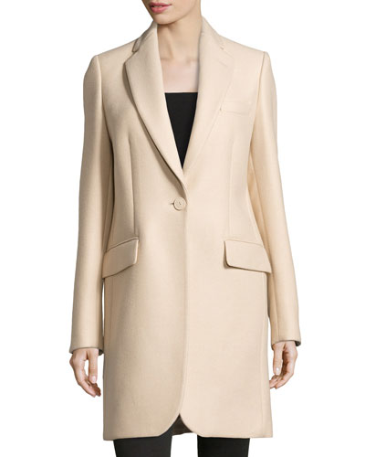 One-Button Long Coat, Cream
