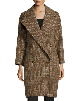 Tweed Wool Double-Breasted Coat