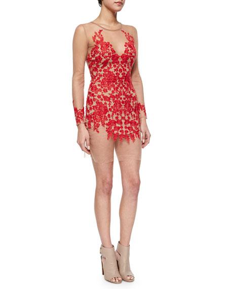 For Love & Lemons Luau Mesh Lace Mini Dress