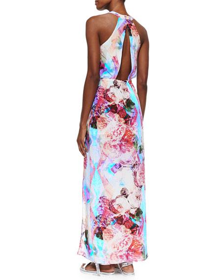 Floral Silk Maxi Dress, Blue/Pink