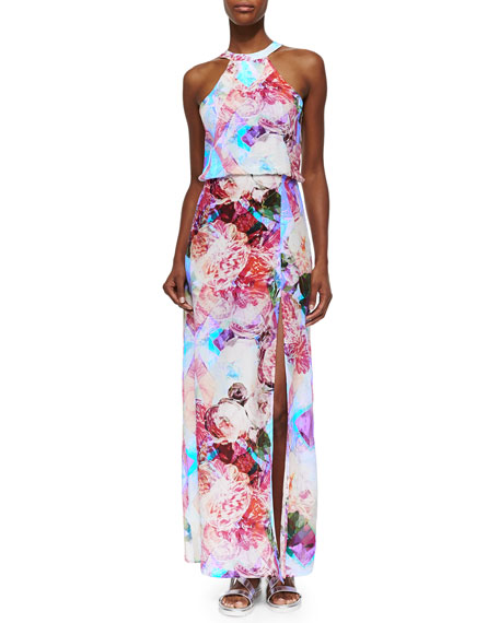 Floral Silk Maxi Dress, Blue/Pink