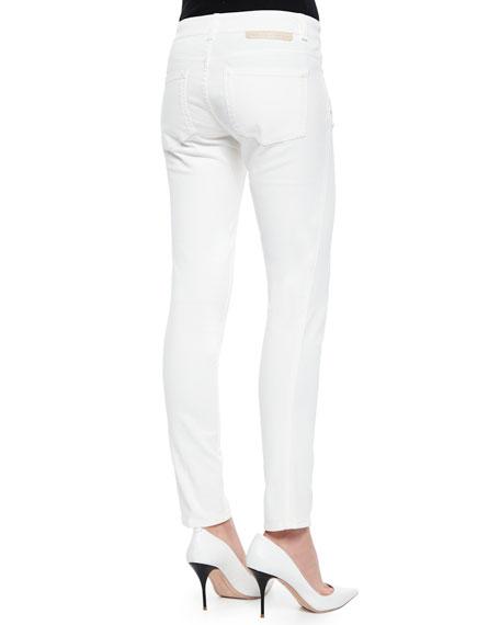 Skinny Ankle Denim Jeans, Ivory