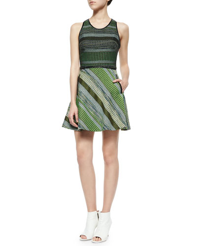 Striped Tweed Racerback Dress, Black/Green