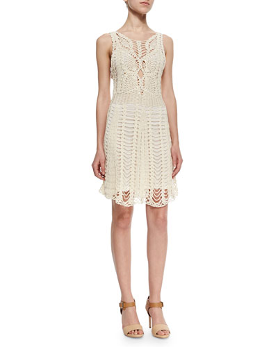 Macrame Sleeveless Mini Dress, Ivory