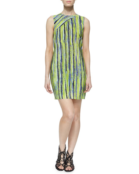 Andrew Marc Sleeveless Citron Striped Dress