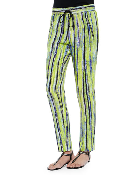Andrew Marc Drawstring Pants, Citron Stripe