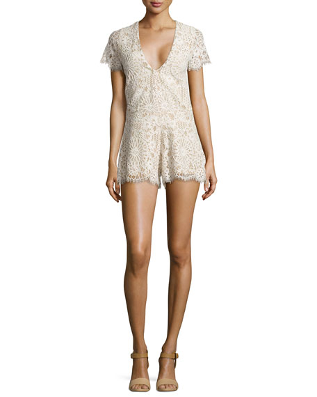 Alain V-Neck Short Lace Romper
