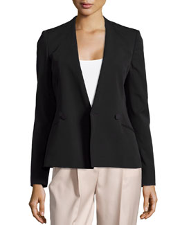 Collarless V-Neck Double-Breasted Jacket, Black