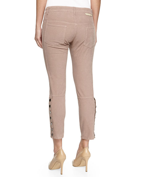 Button-Outseam Cropped Twill Jeans, Light Pink