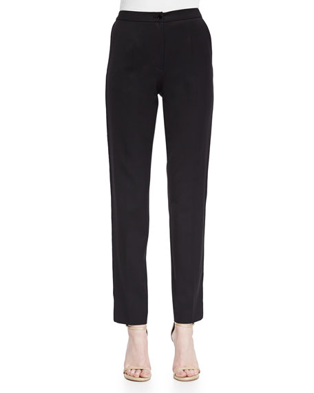 Elie Saab Lace Tuxedo-Striped Slim Ankle Pants, Black