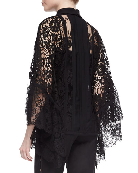 Lace Pagoda-Sleeve Blouse, Black