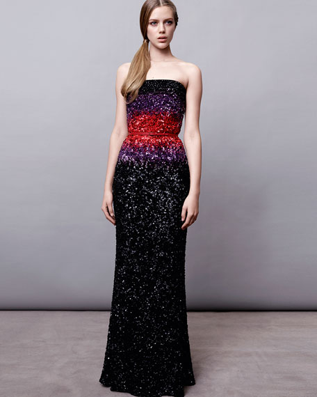STRAPLESS BEADED OMBRE MERMA
