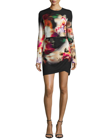 Elie Saab Watercolor Floral-Print Side-Draped Dress