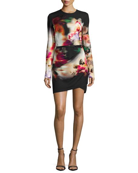 Elie Saab Watercolor Floral-Print Side-Draped Dress
