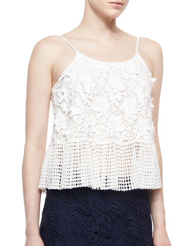Reza Dotted/Floral Crochet Top