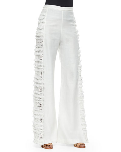 Julius Side-Fringe Wide-Leg Pants