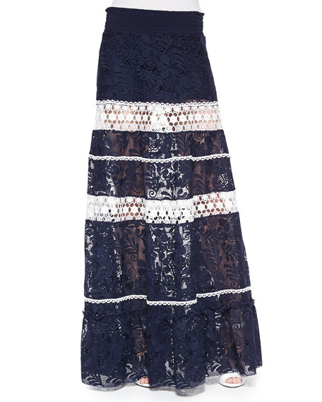 Konsta Lace-Stripe Maxi Skirt