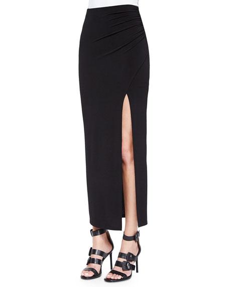 Gathered High-Slit Maxi Skirt
