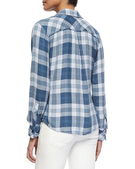 Hunter Long-Sleeve Plaid Shirt, Blue/White