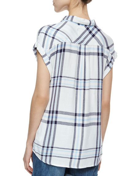 Britt Short-Sleeve Plaid Shirt, White/Navy