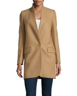 Wool-Blend One-Button Coat, Cream