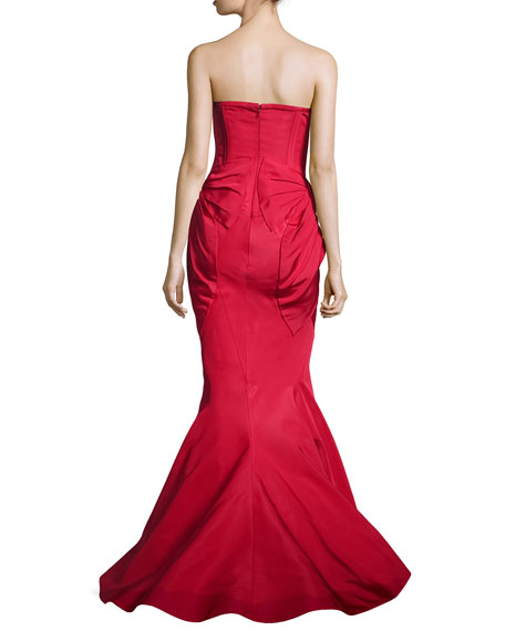 Bow-Detailed Strapless Bustier Gown