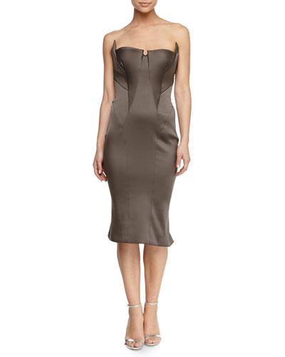 Fold-Pleated Bustier Dress