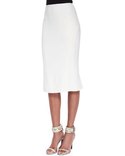 Pleat-Back Pencil Skirt