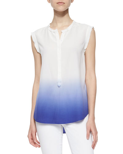 Dip-Dye Sleeveless Top, Chalk/Tanzanite