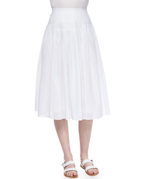 Rebecca Taylor Pleated Cotton Voile Skirt, Sea Salt