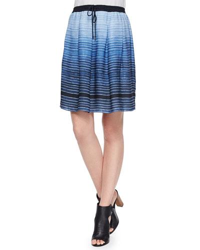 Striped Pleated Drawstring Skirt