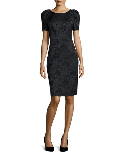 Pleated-Sleeve Floral Jacquard Sheath Dress
