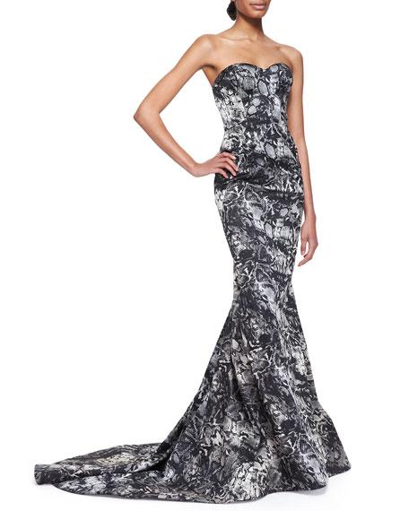 Python-Print Strapless Gown