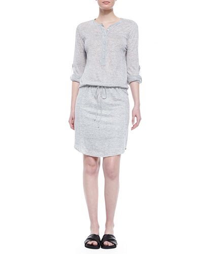Linen-Slub Drawstring Dress
