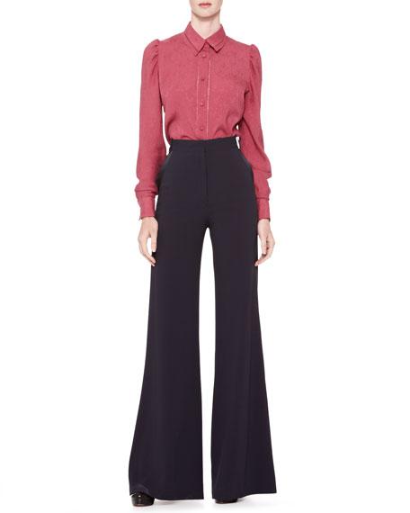 High-Waist Wide-Leg Trousers, Midnight