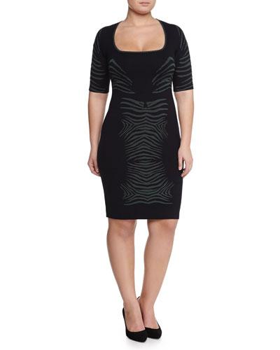 Knit Zebra Dress, Navy/Kale